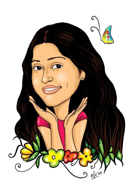 happy girl caricature ...